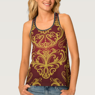 Red & Gold Damask 1 Singlet