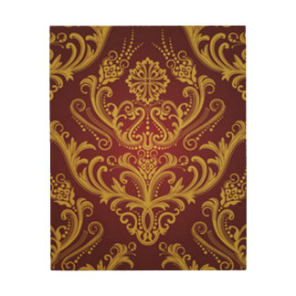Red & Gold Damask 1 Wood Print