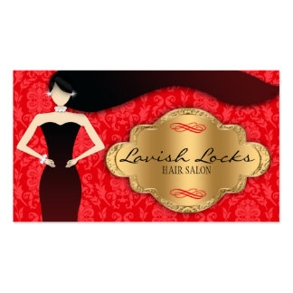 Red Gold Damask Hair Stylist Salon Business Card Template