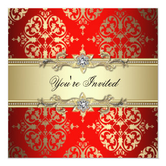Red Gold Damask Party Card