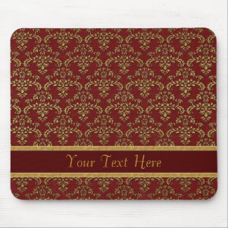 Red Gold Damask Pattern Mouse Pad
