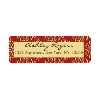 Red Gold Damask Wedding Return Address Labels