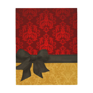 Red & Gold Damask Wood Print