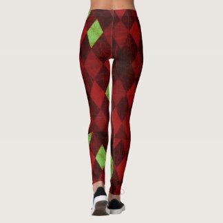 Red Gold Diamond Pattern Leggings