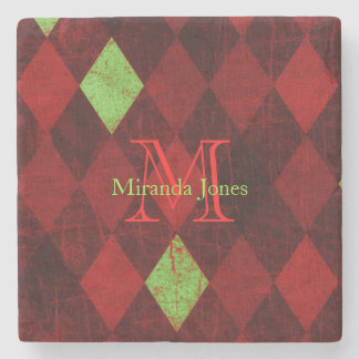 Red Gold Diamond Pattern Monogram Stone Coaster