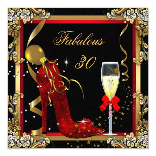 Red Gold Fabulous 30 Birthday Party Card