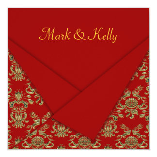 Red & Gold Fancy Folded Baroque Wedding Card