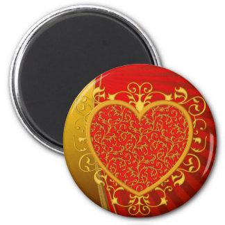 Red Gold Fleur de lis Heart Magnet