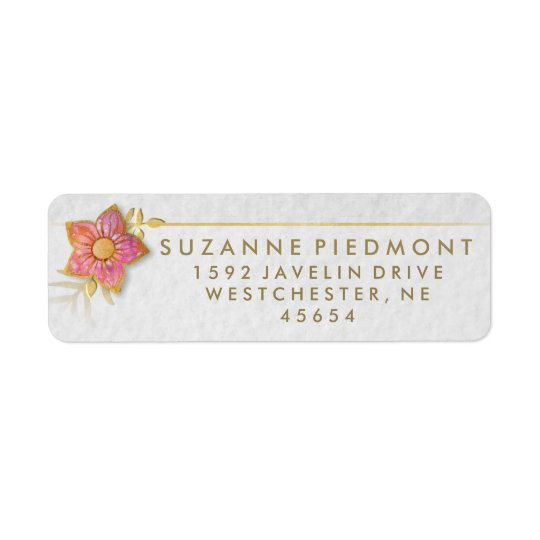 Red & Gold Floral Elegant Return Address Labels