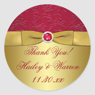 Red, Gold Floral Wedding Favor Thank You Sticker