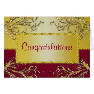 Red & Gold Flowering Vines Monogram Wedding Card