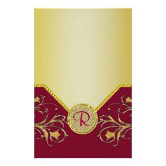 Red & Gold Flowering Vines Monogram Wedding Stationery Design