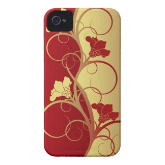 Red/Gold Flowers Barely There iPhone 4 Cases