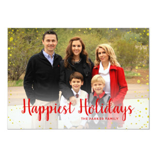 Red Gold Foil Dots Happy Holidays Card