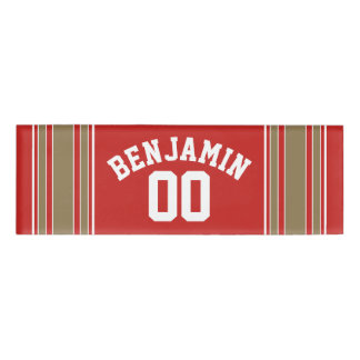 Red Gold Football Jersey Custom Name Number Name Tag
