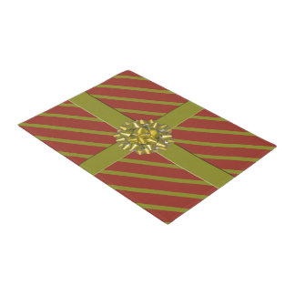 Red Gold Gift Bow Christmas Holiday Decorative Doormat