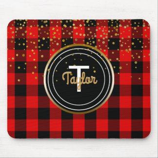 Red Gold Glam Confetti Dots Monogram Buffalo Plaid Mouse Pad
