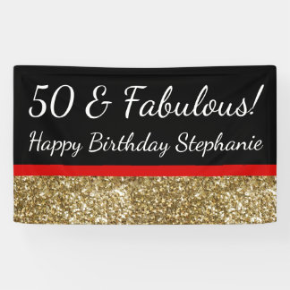 Red Gold Glitter 50th Fabulous Birthday Party Banner