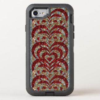 Red & Gold Glitter Spiral Vortex Hearts, Silver - OtterBox Defender iPhone 8/7 Case