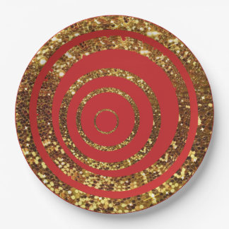 Red & Gold Glitter Swirl and Polka Dot Plates 9 Inch Paper Plate