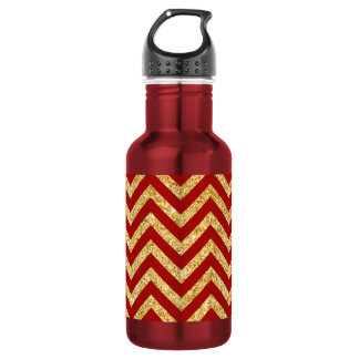 Red Gold Glitter Zigzag Stripes Chevron Pattern 532 Ml Water Bottle