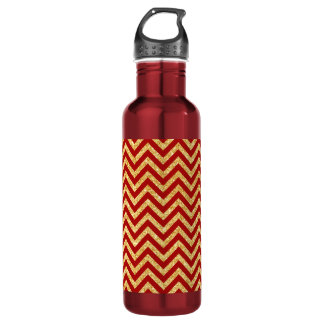 Red Gold Glitter Zigzag Stripes Chevron Pattern 710 Ml Water Bottle