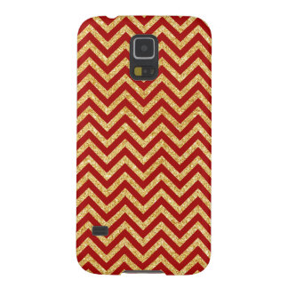 Red Gold Glitter Zigzag Stripes Chevron Pattern Cases For Galaxy S5