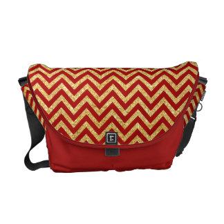 Red Gold Glitter Zigzag Stripes Chevron Pattern Commuter Bag