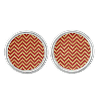 Red Gold Glitter Zigzag Stripes Chevron Pattern Cufflinks