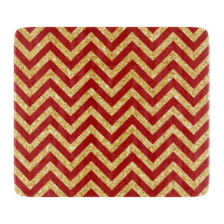 Red Gold Glitter Zigzag Stripes Chevron Pattern Cutting Board