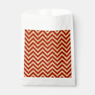 Red Gold Glitter Zigzag Stripes Chevron Pattern Favour Bag