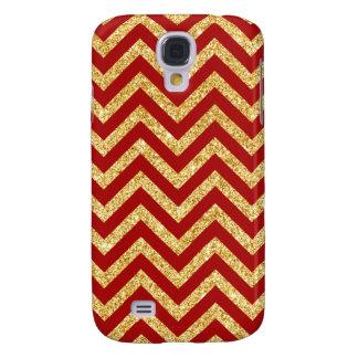 Red Gold Glitter Zigzag Stripes Chevron Pattern Galaxy S4 Case