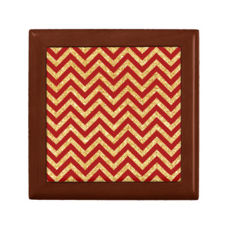 Red Gold Glitter Zigzag Stripes Chevron Pattern Gift Box
