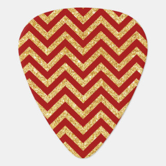 Red Gold Glitter Zigzag Stripes Chevron Pattern Guitar Pick