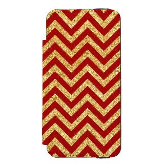 Red Gold Glitter Zigzag Stripes Chevron Pattern Incipio Watson™ iPhone 5 Wallet Case
