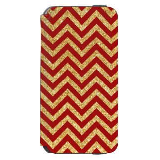 Red Gold Glitter Zigzag Stripes Chevron Pattern Incipio Watson™ iPhone 6 Wallet Case
