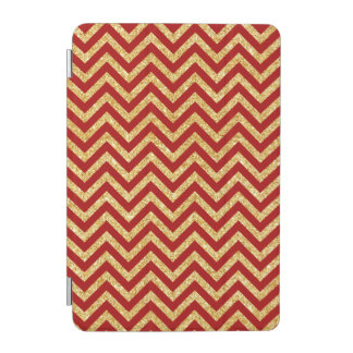 Red Gold Glitter Zigzag Stripes Chevron Pattern iPad Mini Cover
