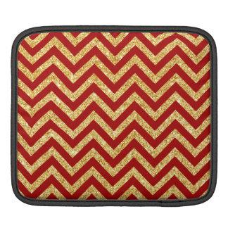 Red Gold Glitter Zigzag Stripes Chevron Pattern iPad Sleeve