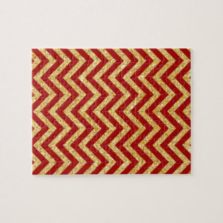 Red Gold Glitter Zigzag Stripes Chevron Pattern Jigsaw Puzzle