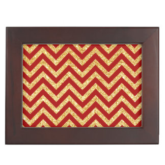 Red Gold Glitter Zigzag Stripes Chevron Pattern Keepsake Box