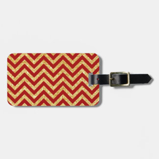 Red Gold Glitter Zigzag Stripes Chevron Pattern Luggage Tag