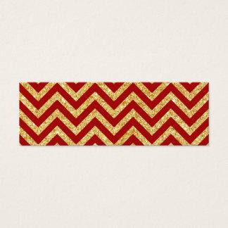 Red Gold Glitter Zigzag Stripes Chevron Pattern Mini Business Card