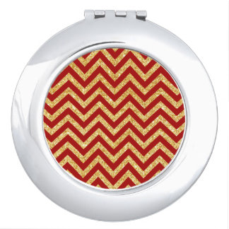Red Gold Glitter Zigzag Stripes Chevron Pattern Mirrors For Makeup