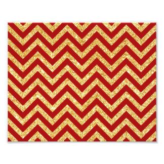 Red Gold Glitter Zigzag Stripes Chevron Pattern Photo Print