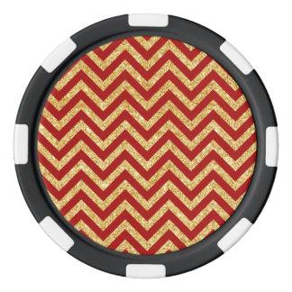 Red Gold Glitter Zigzag Stripes Chevron Pattern Poker Chips