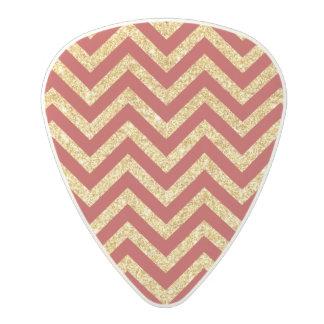 Red Gold Glitter Zigzag Stripes Chevron Pattern Polycarbonate Guitar Pick