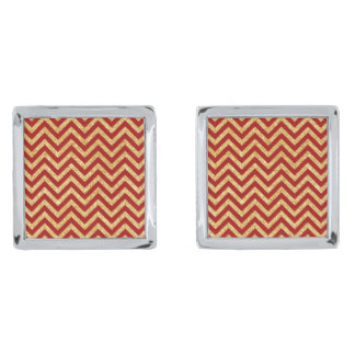 Red Gold Glitter Zigzag Stripes Chevron Pattern Silver Finish Cufflinks