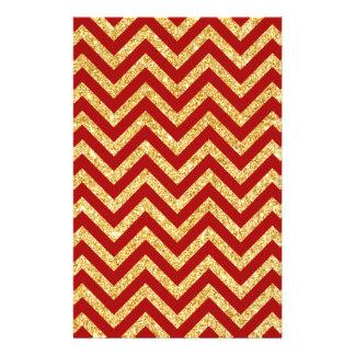 Red Gold Glitter Zigzag Stripes Chevron Pattern Stationery