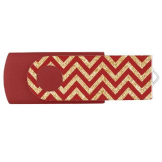 Red Gold Glitter Zigzag Stripes Chevron Pattern USB Flash Drive