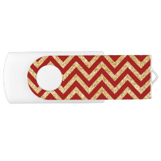 Red Gold Glitter Zigzag Stripes Chevron Pattern USB Flash Drive